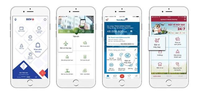 Tính năng Đặt vé máy bay được tích hợp trong ứng dụng Mobile Banking của hầu hết các ngân hàng tại Việt Nam