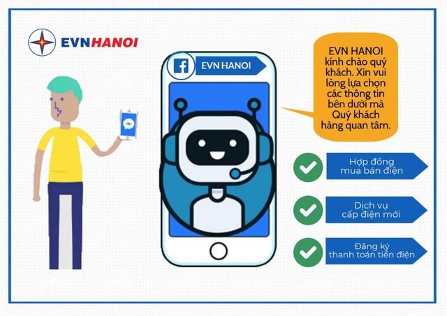 Chatbot tích hợp với trang Fanpage EVN HANOI với nhiều tính năng mới
