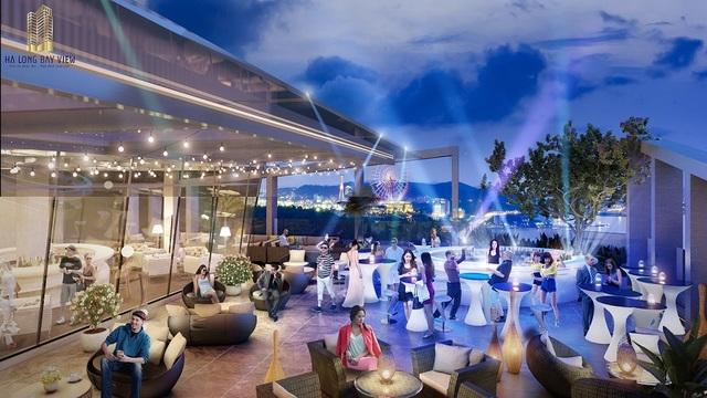 Hạ Long Bay View sở hữu nhiều tiện ích đẳng cấp như Skybar, vườn thượng uyển, nhà hàng VIP…