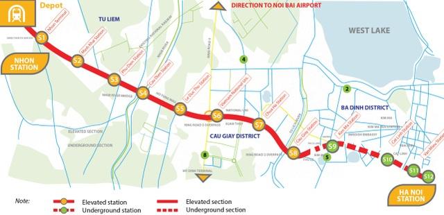Nguồn: Tài liệu truyền thông cho Metro Tuyến Nhổn – Ga Hà Nội, ADB-MRB
