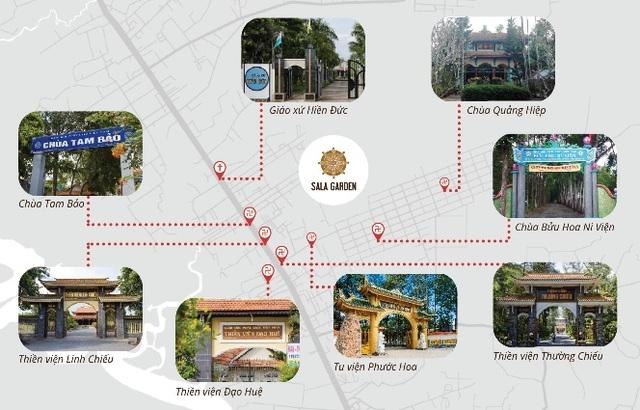 Hoa viên nghĩa trang sinh thái Sala Garden, Long Thành có vị trí phong thuỷ độc tôn, gần nhiều chùa, thiền viện, giáo sứ lớn có lịch sử trăm năm.