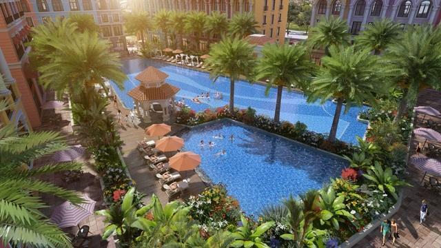 Bể bơi ở sân vườn theo phong cách nhiệt đới