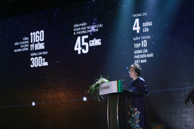 Bà Trần Kim Liên - Chủ tịch HĐQT, Tổng giám đốc Vinaseed điểm lại những kết quả và thành tựu trong sự phát triển 50 năm đồng hành cùng nền nông nghiệp Việt của Vinaseed
