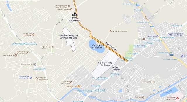 Trung tâm thương mại Aeon Mall có vị trí tiếp giáp Khu đô thị Dương Nội