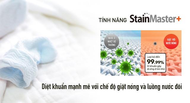 Tính năng StainMaster+ loại bỏ đến 99,99% vi khuẩn gây dị ứng ở trẻ nhỏ