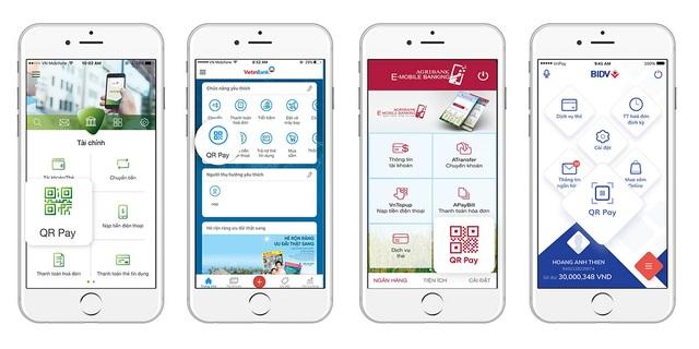 Bốn ngân hàng có lượng khách hàng lớn nhất của Việt Nam cũng đã nhanh chóng tích hợp tính năng QR Pay vào ứng dụng di động của mình