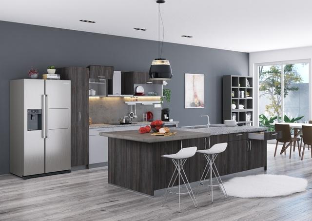 Thiết kế bếp đảo của Häfele tận dụng đảo làm tủ bếp, quầy bar ăn sáng và cả nơi đặt bồn rửa