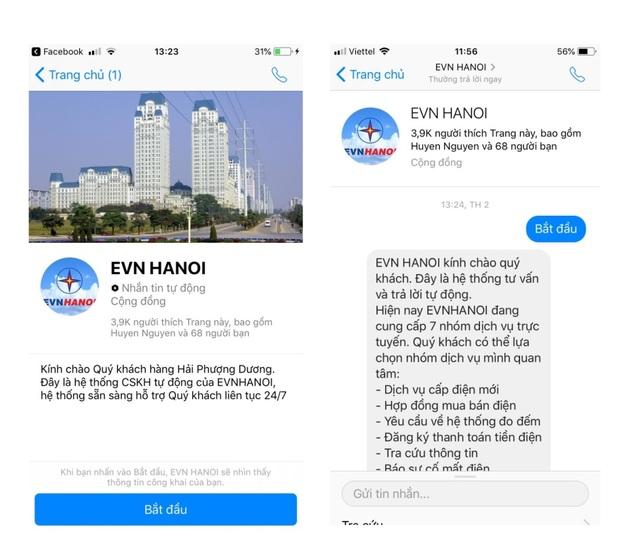 Chatbot hỗ trợ khách hàng qua Facebook EVN HANOI