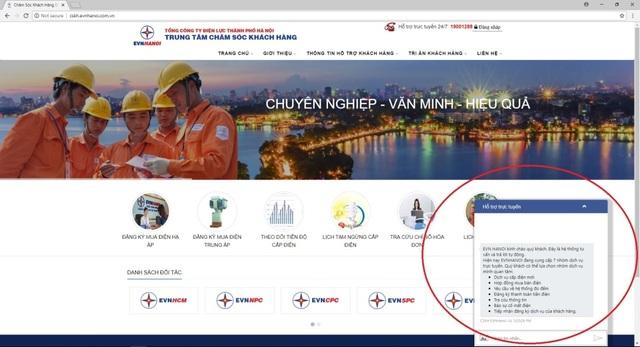 Chatbot hỗ trợ khách hàng qua website CSKH của EVN HANOI
