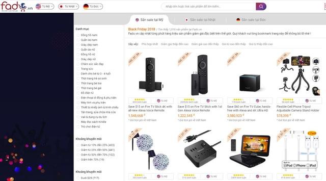 """Trên Fado, người mua có thể """"săn"""" deal trên Amazon Mỹ, Nhật Bản và Đức."""