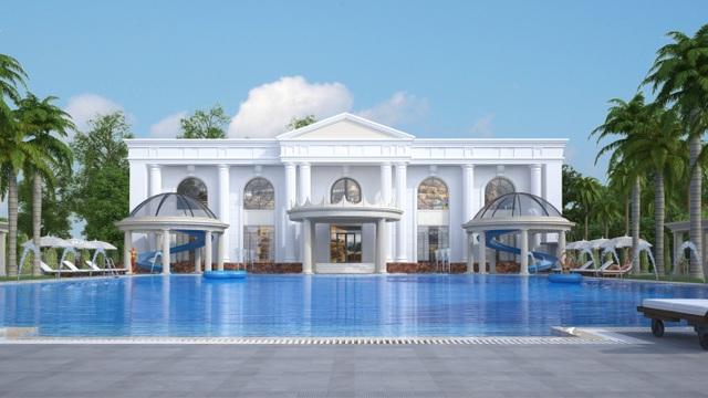 Khu vực bể bơi được thiết kế mang đậm phong cách Châu Âu