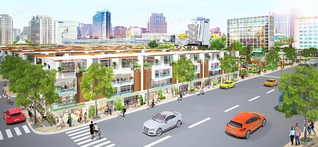 Phối cảnh một góc Eco Town Long Thành, dự án đang chào bán giai đoạn cuối với mức giá chỉ khoảng 1 tỉ đồng/nền kèm nhiều khuyến mãi như tặng vàng, xe Honda Vision, Smart Tivi, tủ lạnh…