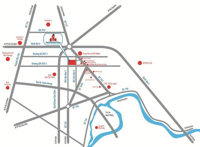 Sơ đồ các tuyến đường huyết mạch bao quanh dự án New Times City