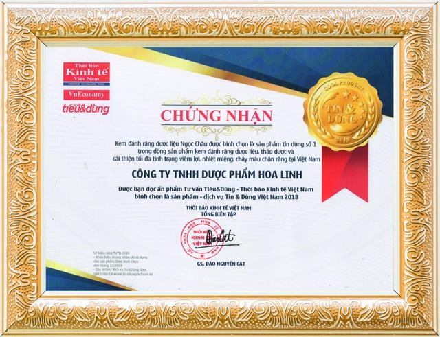 Kem đánh răng dược liệu Ngọc Châu giành thứ hạng cao trong giải thưởng Tin & Dùng 2018 - 1