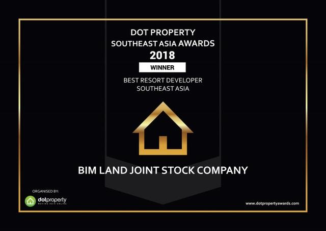 BIM Land được vinh danh nhà phát triển bất động sản nghỉ dưỡng tốt nhất Đông Nam Á 2018 - 1