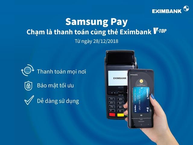 Eximbank triển khai thanh toán bằng ứng dụng Samsung Pay cho thẻ V-Top - Ảnh 1.