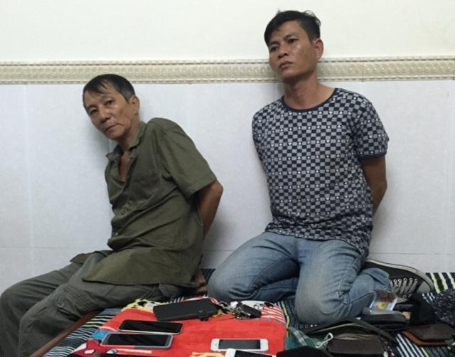 2 đối tượng Hoàng Quốc Dũng và Chu Chí Cường lúc bị bắt