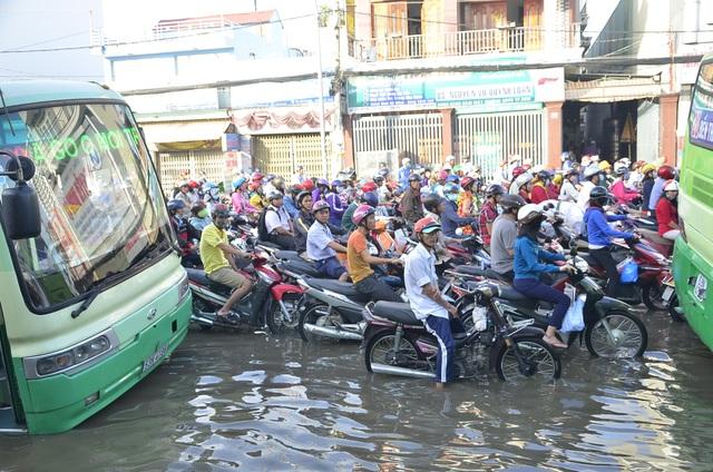 Nhiều người phải ngâm mình giữa dòng nước thối và không thể nhúc nhích.