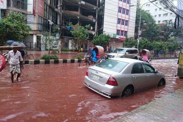 """Cơn mưa lớn hòa cùng máu động vật tạo thành """"dòng sông máu"""""""