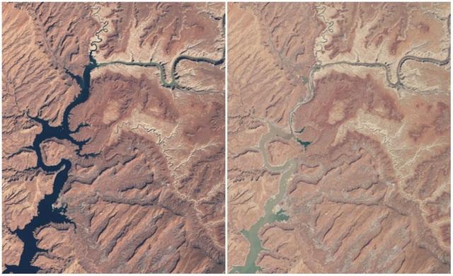 Hồ Powell là hồ chứa nhân tạo lớn thứ 2 tại Mỹ. Hồ có chiều dài 300 km, là hồ chứa trên sông Colorado. Có thể thấy, hồ bị hẹp diện tích đi rất nhiều do hạn hán kéo dài. Ảnh chụp vào tháng 3/1999 và tháng 5/2014.