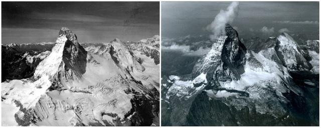 Ngọn núi Matterhorn nằm trên dãy Alps, nằm giữa biên giới của Thụy Sỹ và Ý. Ảnh chụp tháng 8/1960 và tháng 8/2005.