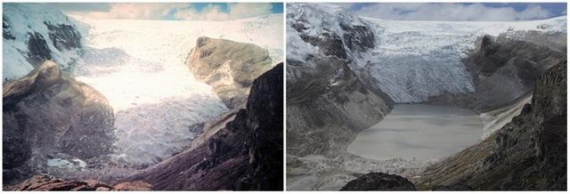 Khối băng ở sông băng Qori Kalis, Peru vào tháng 7/2011 đã mỏng hơn rất nhiều so với thời điểm chụp tháng 7/1978.
