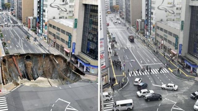 """Hố tử thần xuất hiện trên đường phố Fukuoka và được """"vá lại"""" nhanh chóng"""