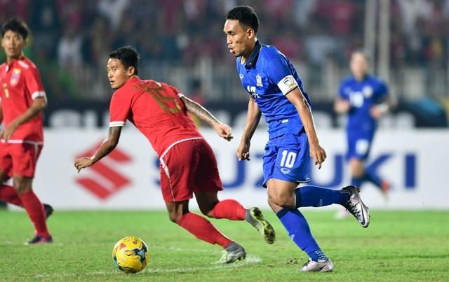 Teerasil Dangda ghi cả 2 bàn thắng trong chiến thắng 2-0 của Thái Lan trước Myanmar