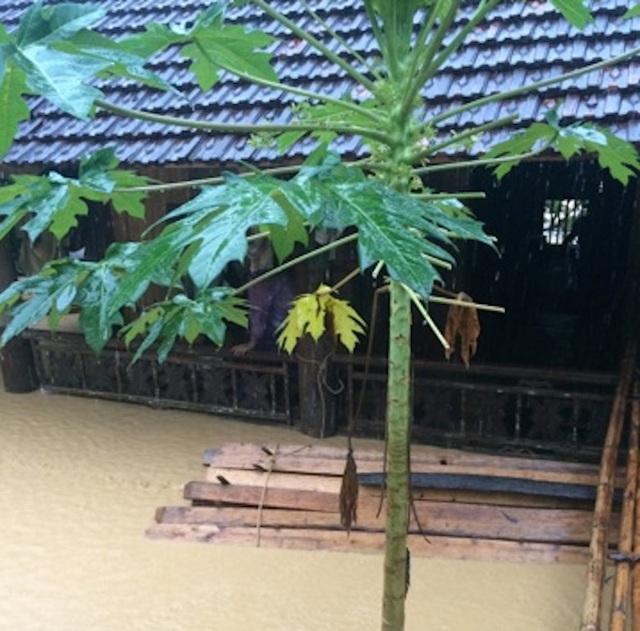 Nhiều nhà dân ở Yên Tĩnh đã ngập nặng.