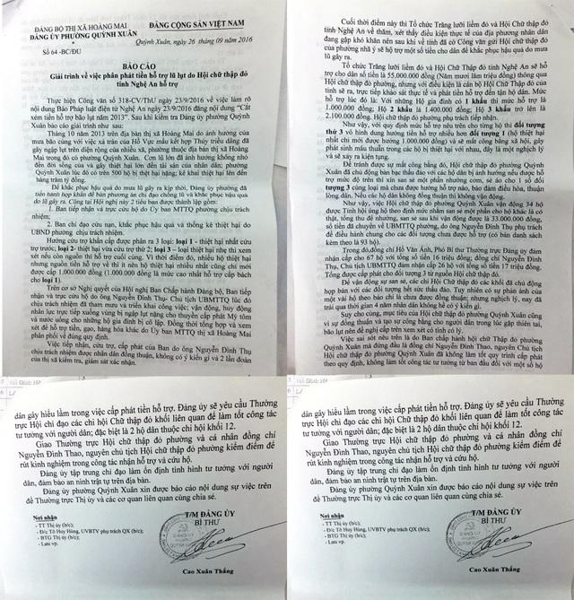 Báo cáo của UBND phường Quỳnh Xuân về vụ việc.