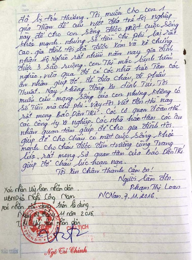 Thêm một lần nữa xã chứng nhận hoàn cảnh chị Loan rất cần sự giúp đỡ của xã hội và mọi người.