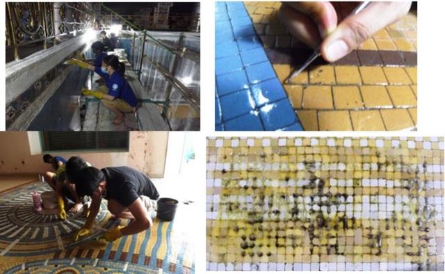 Công đoạn bóc tách gạch mosaic để bảo quản và tích hợp vào công trình mới