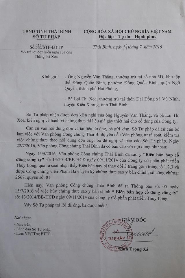 Văn bản của Sở Tư pháp tỉnh Thái Bình.