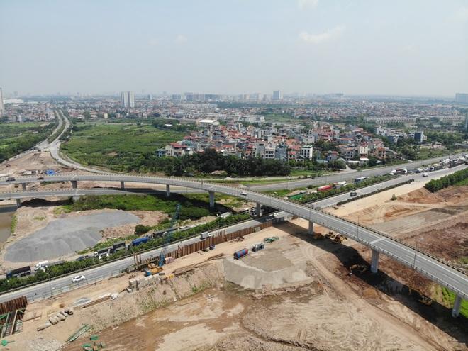 Nhìn từ trên cao dự án đường nối vành đai 3 với cao tốc Hà Nội - Hải Phòng - 3