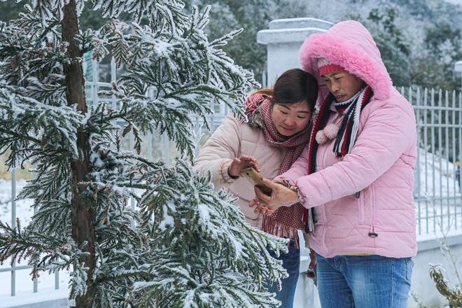 Du khách thích thú đổ ra đường, chụp ảnh với băng tuyết trắng xóa ở Y Tý - 10