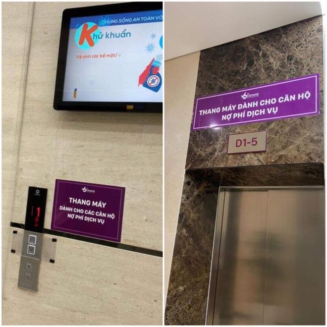 Chung cư cao cấp dán biển thang máy dành cho căn hộ nợ phí dịch vụ - 2