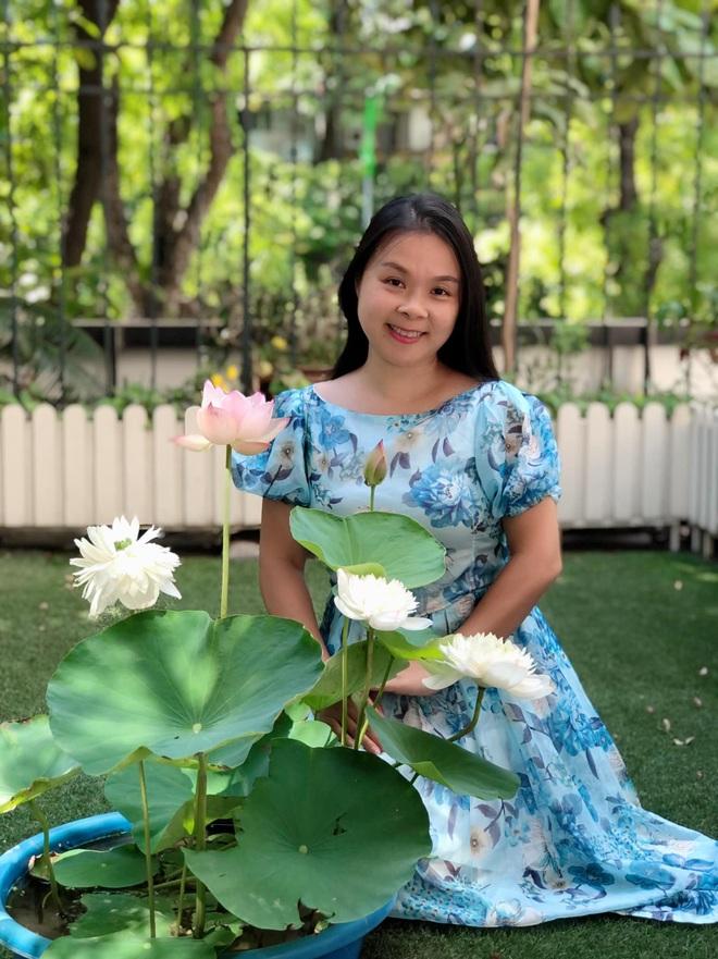 Yêu thích hương hoa mùa hạ, cô giáo Hà Nội mang cả đầm sen vào nhà - 1