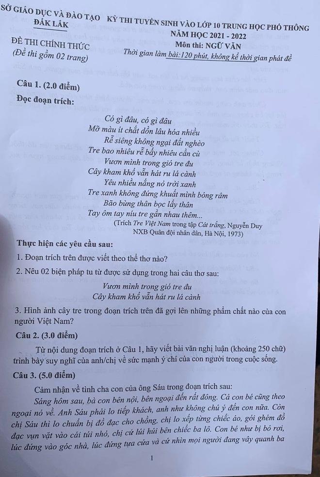 Sức mạnh ý chí của con người vào đề thi Văn lớp 10 tại Đắk Lắk - 1