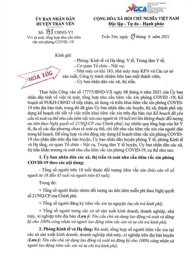 Sở Y tế Yên Bái lý giải việc vận động đóng tiền khi tiêm vắc xin Covid-19 - 1