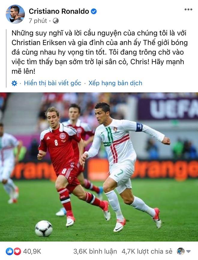 C.Ronaldo và Lukaku cùng động viên Eriksen sau giây phút kinh hoàng - 2