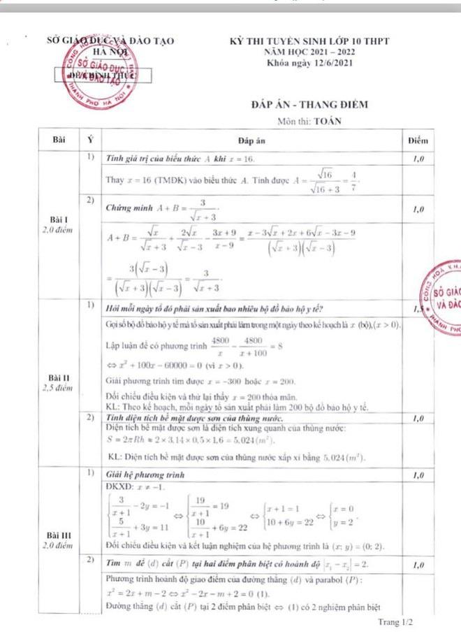 Hà Nội: Công bố thang điểm, đáp án các môn thi tuyển sinh vào lớp 10 THPT - 1