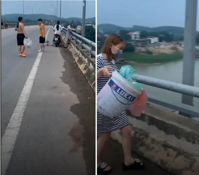 Clip 2 thiếu nữ ngang nhiên đổ rác xuống dòng sông khiến dân mạng phẫn nộ - 1