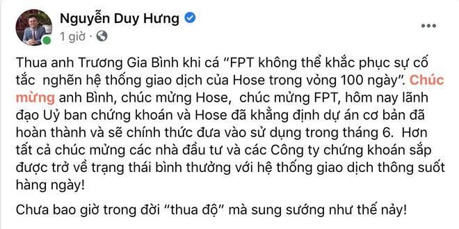 Ông trùm chứng khoán Nguyễn Duy Hưng nhận thua ông Trương Gia Bình