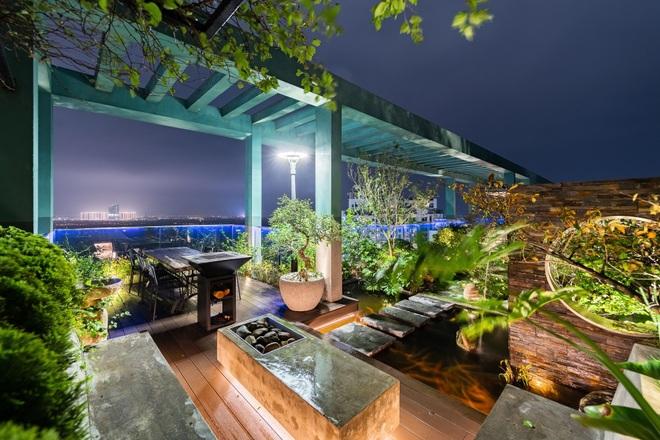 Vợ chồng chi tiền tỷ làm sân vườn, hồ cá Koi ở căn penthouse tầng 30 - 6