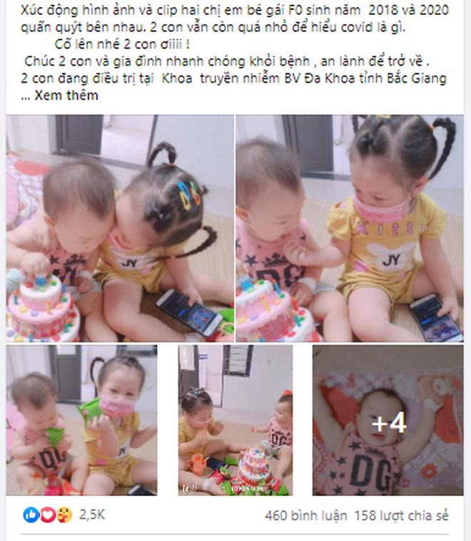 Xúc động khoảnh khắc 2 bé gái F0 vui chơi trong khu điều trị Covid-19 - 1
