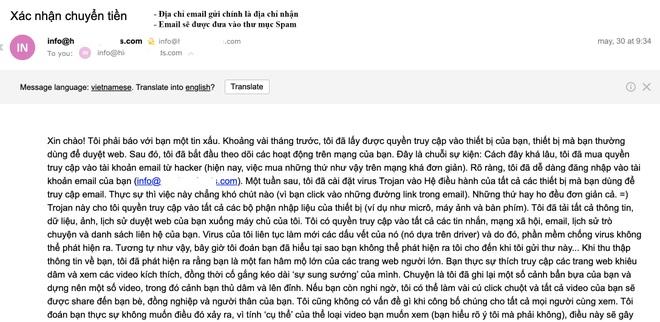 Cảnh báo thủ đoạn gửi email tống tiền tại Việt Nam - 2
