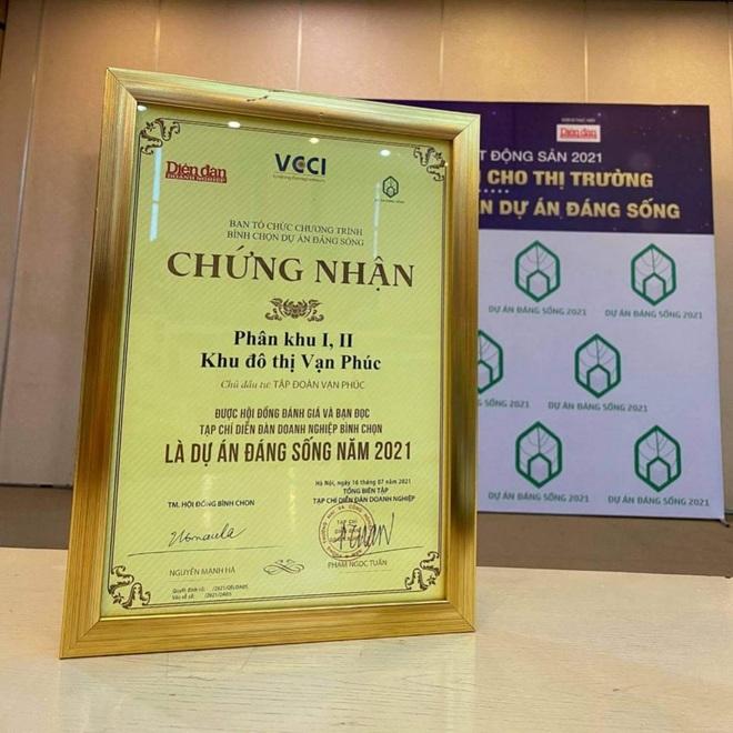 Van Phuc City nhận giải thưởng Dự án đáng sống 2021 - 2