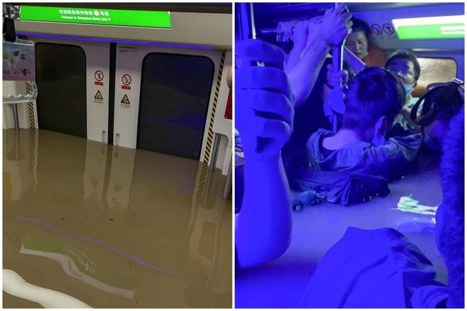 Nước lũ ồ ạt dâng đến cổ hành khách trên tàu điện ngầm Trung Quốc - 1