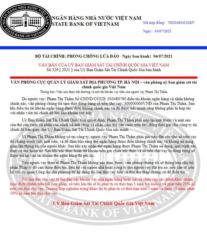 Giả mạo Ngân hàng Nhà nước đóng băng 300 triệu đồng của người dân - 1