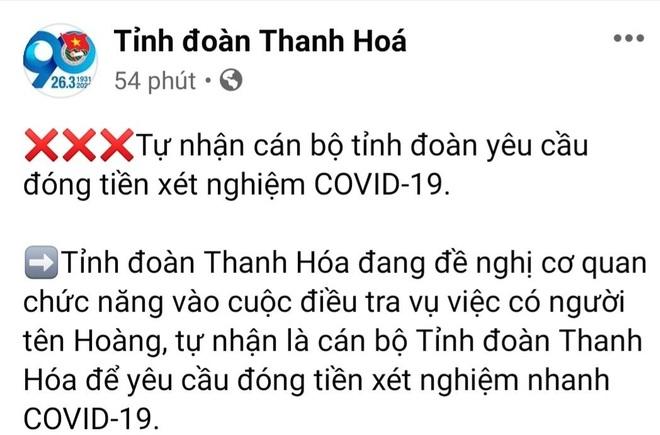 Tung tin xét nghiệm nhanh người từ TPHCM về Thanh Hóa để lừa tiền - 1